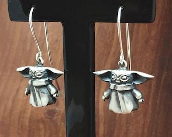 Grogu silver earrings