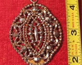 BoHo, Large Victorian pendant or brooch, detailed iron marcasite pyrite crystals Edwardian pattern.