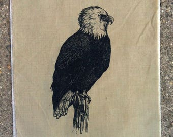 bald eagle perching back patch-- screen printed on recycled cotton original drawing by amara hollow bones