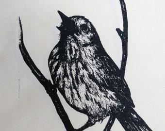 song bird yellow warbler back patch-- original drawing by amara hollow bones silk screened back patch