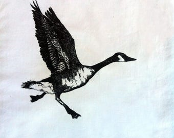 Goose taking flight back patch -- running flying canada goose original drawing by amara hollow bones screen printed patch