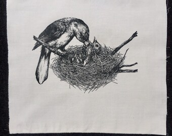 Northern Cardinals in their nest silk screened back patch by amara hollow bones
