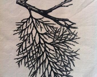 cedar branch back patch original drawing by amara hollow bones silk screen printed patch