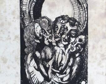 singing the moon alive back patch-- silkscreen printed original drawing by amara hollow bones