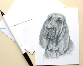 Bloodhound dog notecards, 6, with envelopes