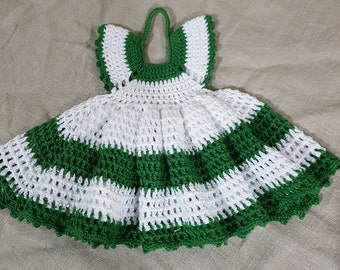 Green and White Cotton Dress Dishcloth