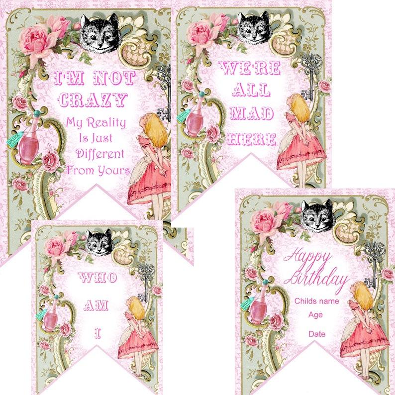 Alice In Wonderland Personalised Children/'s Birthday Bunting