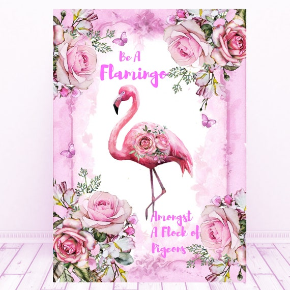 Be A Flamingo Amongst A Flock of Pigeons Message Card Necklace Necklace New