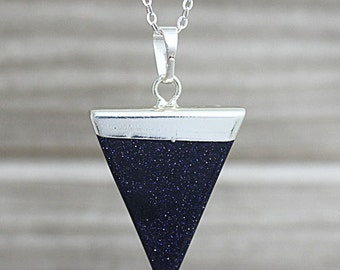 Sparkly Blue Sandstone/Goldstone Triangle Pendant Necklace // Silver Crystal Quartz Druzy Pendant Necklace/ Layering D2F5_05