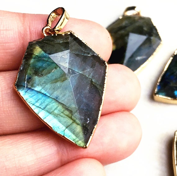 With Electroplated Gold Edge Gemstone Charms Wholesale Supplies KG0053-4 10mm Faceted Labradorite Pendants