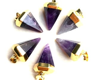 Petite Amethyst Point Pendant -- Natural Amethyst Healing Stone Crystal Quartz Point Pendant with Gold Electroplated