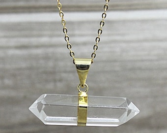 Crystal  Necklace, Rock Crystal Necklace, Gold Rock Crystal Pendant, Natural stone, Clear Quartz Crystal Pendant D2F8_08