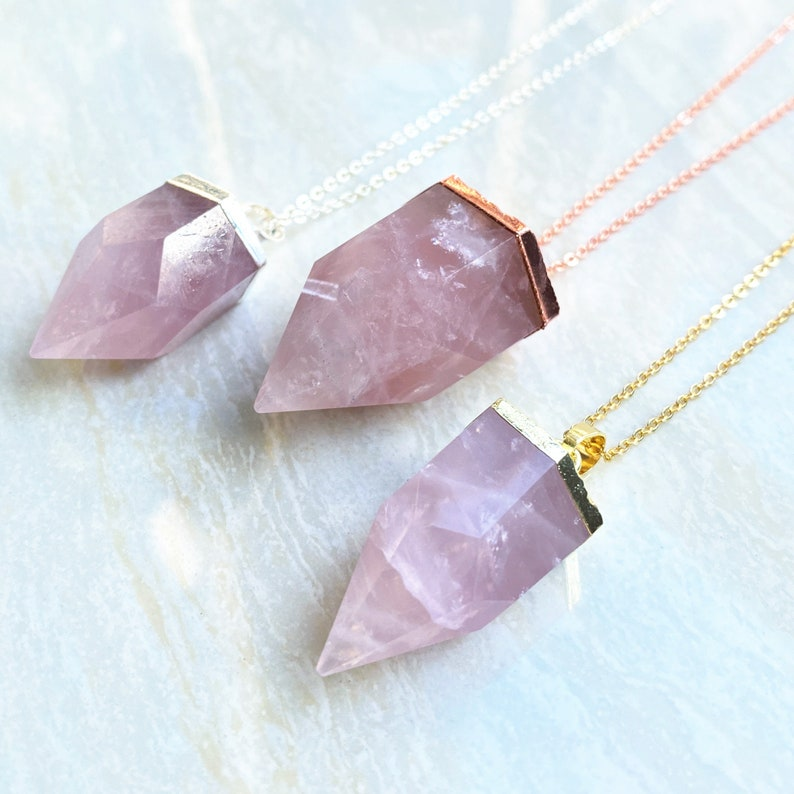 Rose gold Plated Silver Pink Crystal Quartz Healing Stone Point Pendant Necklace Natural Rose Quartz Petite Spike Charm Pendant with Gold
