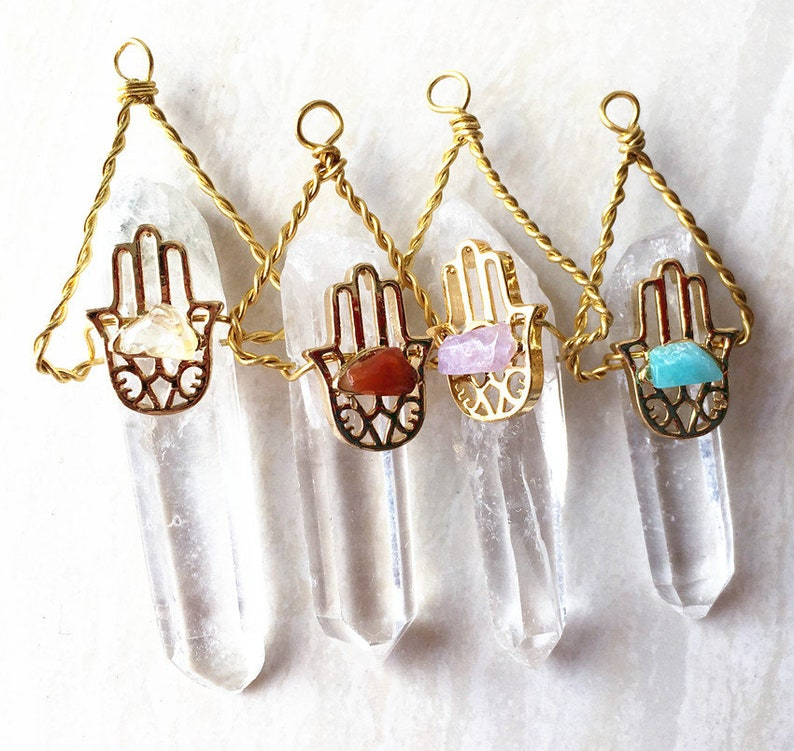 Citrine Amethyst Amazonite Long Rock Crystal Quartz Druzy Pendant with Healing Gemstone Hamsa Hand Wire Wrapped Gold Electroplated
