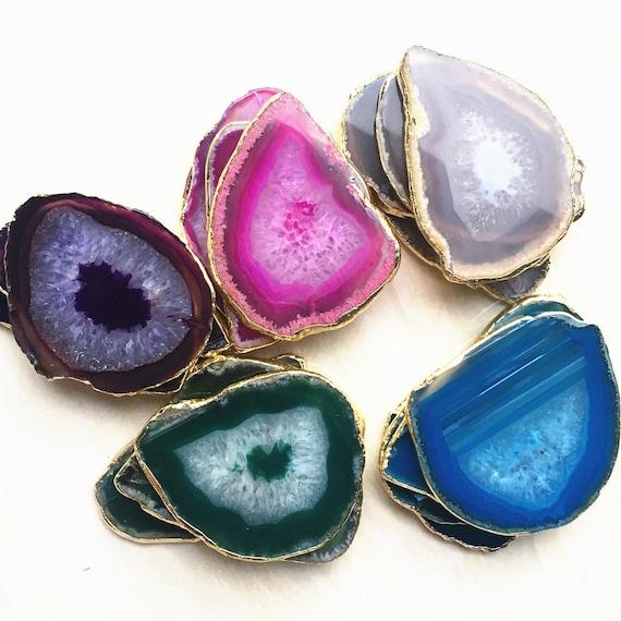 Large Druzy Titanium White Agate Geode Slice Beads Necklace,Bulk Raw Drusy Agate Diamond Crystals Rhinestone Inlay Natural Stones Pendants