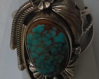Vintage sterling silver with candelaria turquoise ring