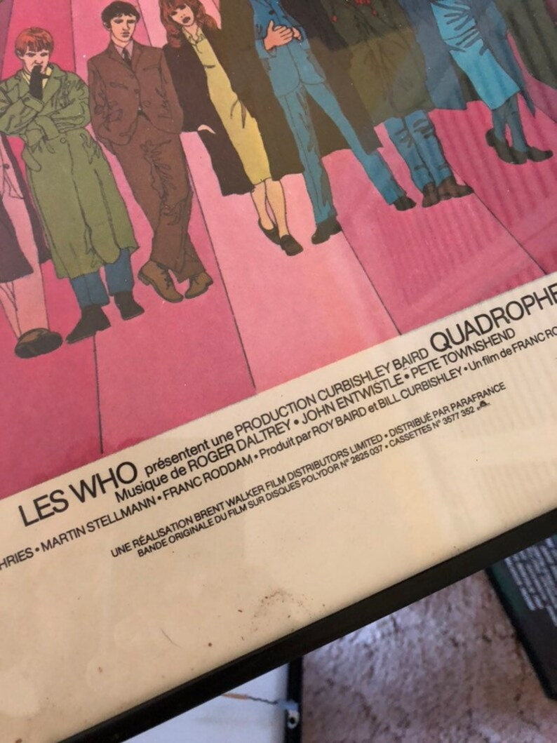 The Who Les Who Quadrophenia French poster 1979 pro frame Pete Townsend Roger Daltry John Entwistle movie concert poster