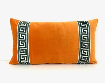Orange Lumbar Pillow Cover with Marine Blue Greek Key Trim