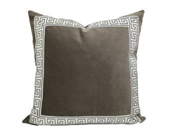 Grey Pillow Cover with Greek Key Trim