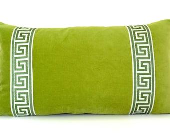 Green Pillow - Lime Green Velvet Lumbar Pillow with Greek Key Trim