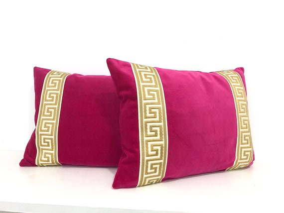 Fuchsia Pink Velvet Lumbar Pillow Cover