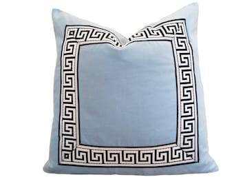 Light Blue Pillow Cover - Sky Blue Velvet Pillow Cover with Greek Key Trim
