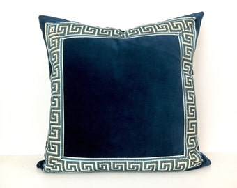 Navy Blue Velvet Pillow Cover with Navy and Off White Greek Key Trim