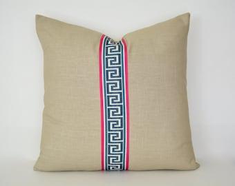 Tan Linen Pillow Cover with Navy Greek Key Trim
