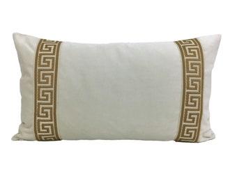 Off-White Velvet Pillow Cover with Greek Key Trim
