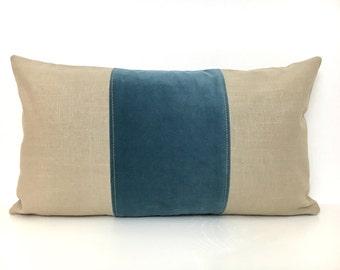 Tan and Blue Lumbar Pillow Cover