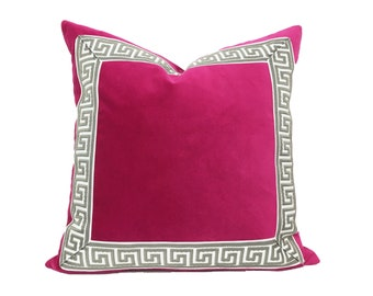 Pink Pillow with Grey Greek Key - Fuchsia Pink Velvet Pillow Cover