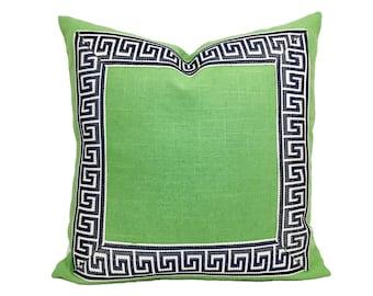 Spring Green Pillow Cover with Dark Navy Greek Key Trim
