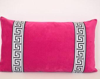 Pink Pillow Cover - Fuchsia Velvet Lumbar Pillow with Greek Key Trim