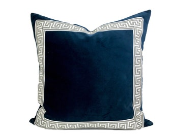 Navy Blue Pillow Cover with Gray Greek Key Trim