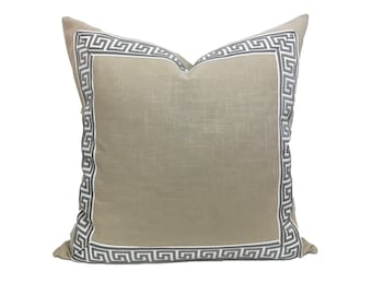 Tan Linen Pillow Cover with Gray and White Greek Key Trim