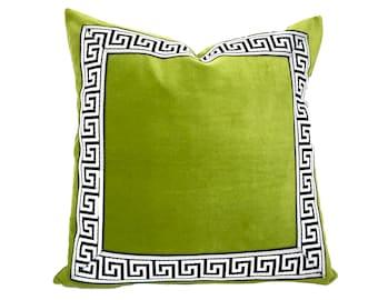 Green Pillow Cover with Black Greek Key Trim - Lime Green Velvet PIllow