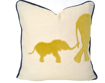 Elephant Pillow - Elephant pillow cover with gold velvet appliqué and navy piping