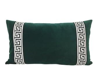 Forest Green Velvet Lumbar Pillow Cover with Greek Key Trim