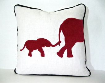 Elephant Pillow with Black Piping - Red elephant velvet applique pillow cover.