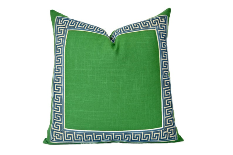 Green Pillow Cover with Navy Greek Key Trim  Kelly Green image 0
