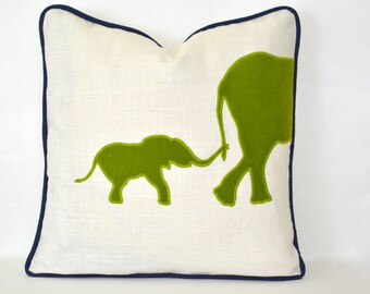 Elephant Pillow - Elephant pillow cover with lime green velvet appliqué and navy piping