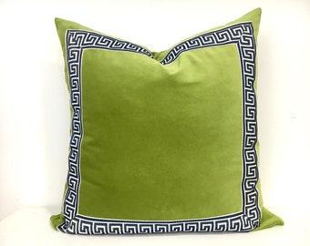 Green Velvet Pillow Cover with Marine Blue Greek Key Trim