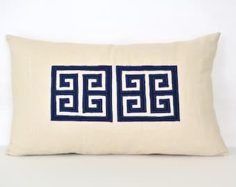 Greek Key Pillow Cover - Off-White Linen Pillow with Navy Greek Key Appliqué