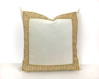 Off-White Pillow Cover with Greek Key Trim - Ivory Velvet PIllow