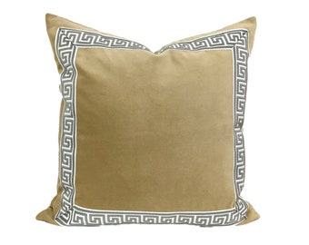 Tan Pillow Cover with Gray and White Greek Key Trim