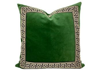 Green Velvet Pillow Cover with Black and Tan Greek Key Trim