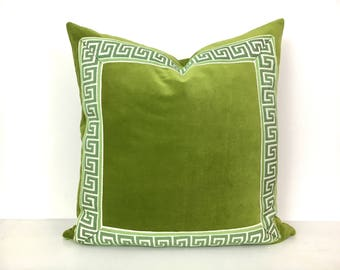 Green Pillow Cover with Greek Key Trim - Lime Green Velvet Pillow Cover