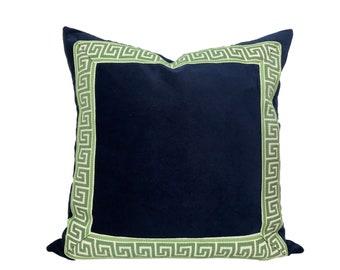 Navy Velvet Pillow Cover with Green Greek Key Trim