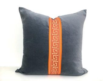 Gray Velvet Pillow Cover with Orange Ribbon and Orange Greek Key Trim