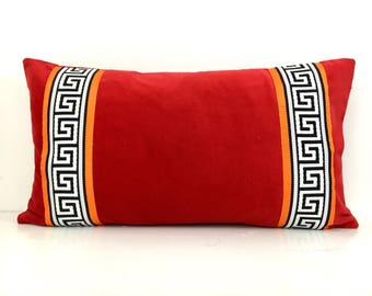Red Pillow Cover - Red Velvet Pillow Cover with Greek Key Trim